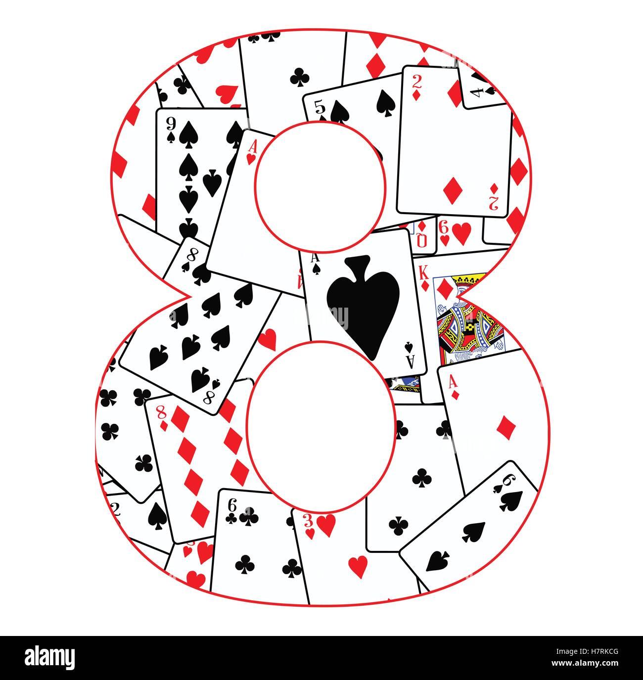 Cartes à jouer dans un ordre aléatoire d'arrière-plan pour le nombre 8 Photo Stock