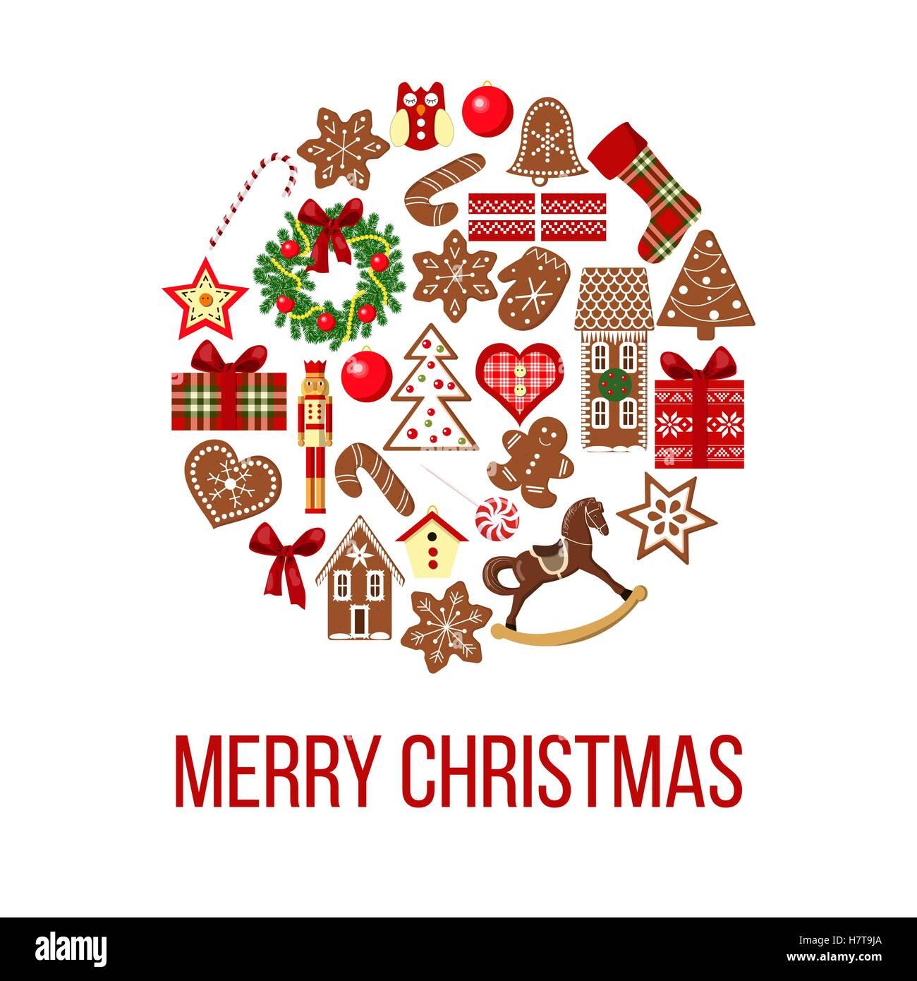 Carte De Noel Droles.Carte De Noël Objets Drôles Sur Bauble Forme Fond De Carte
