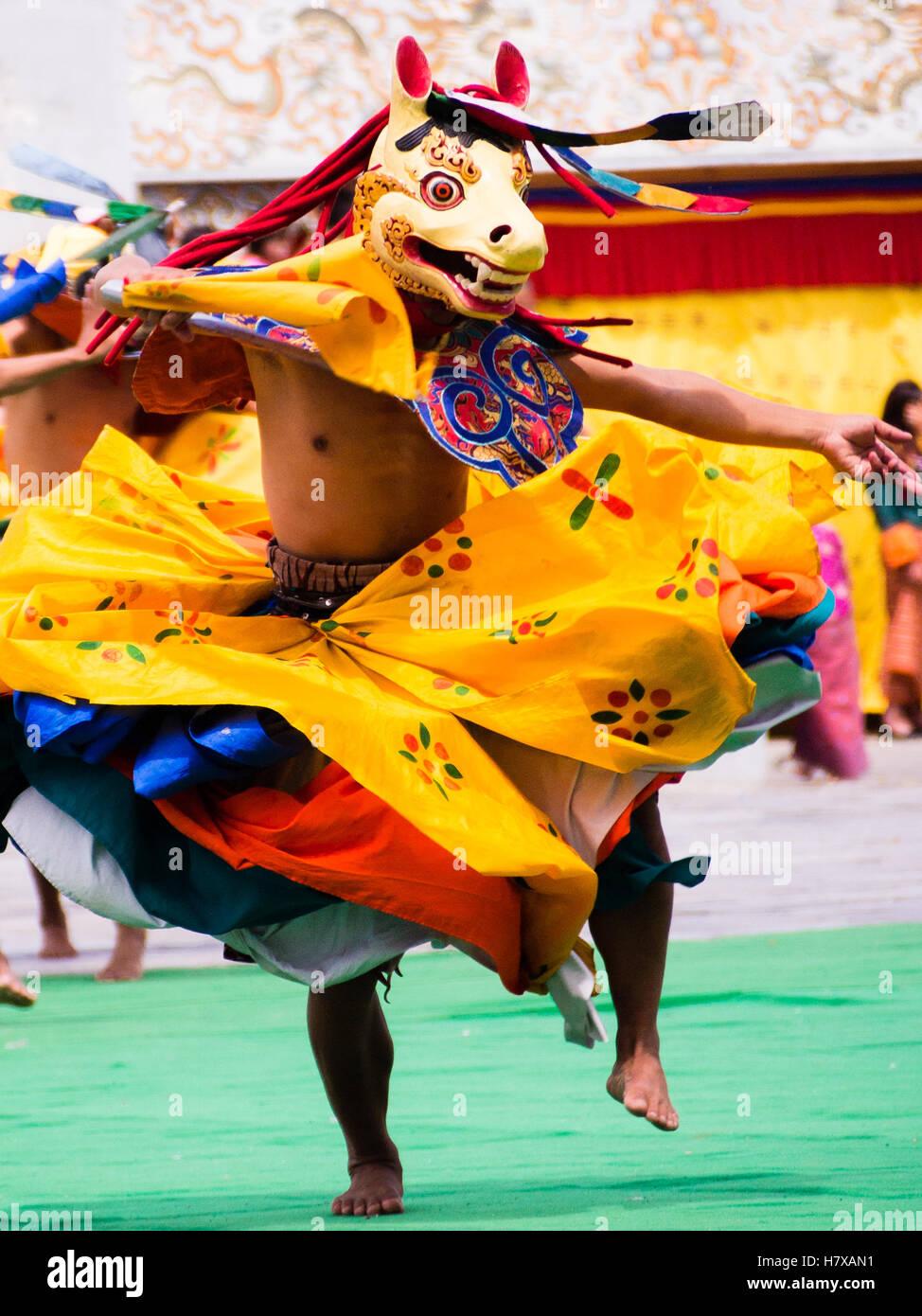 Masque de danse à tshechu Tashichho dzong à Thimphu, Bhoutan Photo Stock