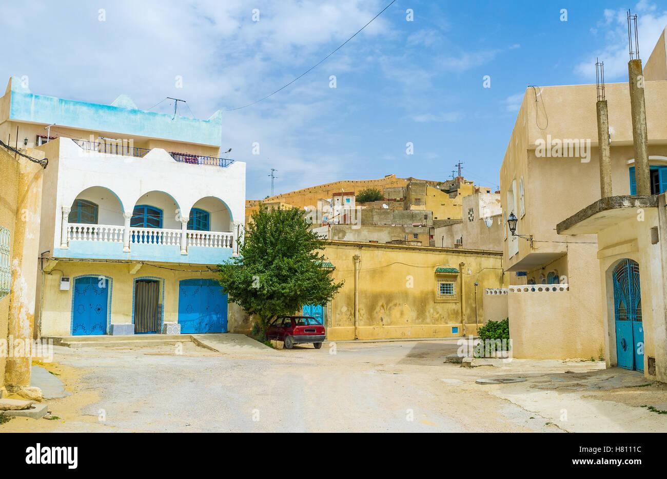 La vieille ville d'El Kef se compose de labyrinthe de rues avec des maisons arabes traditionnelles, la Tunisie. Photo Stock