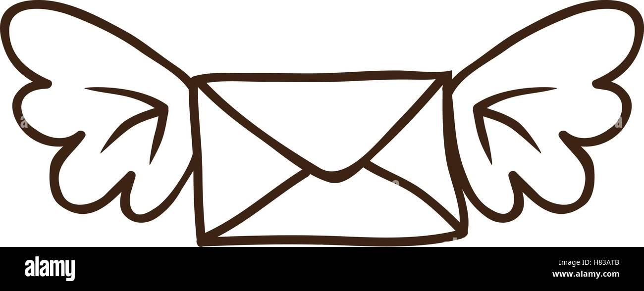 Dessin D Enveloppe l'icône d'enveloppe de courrier avec des ailes sur fond blanc