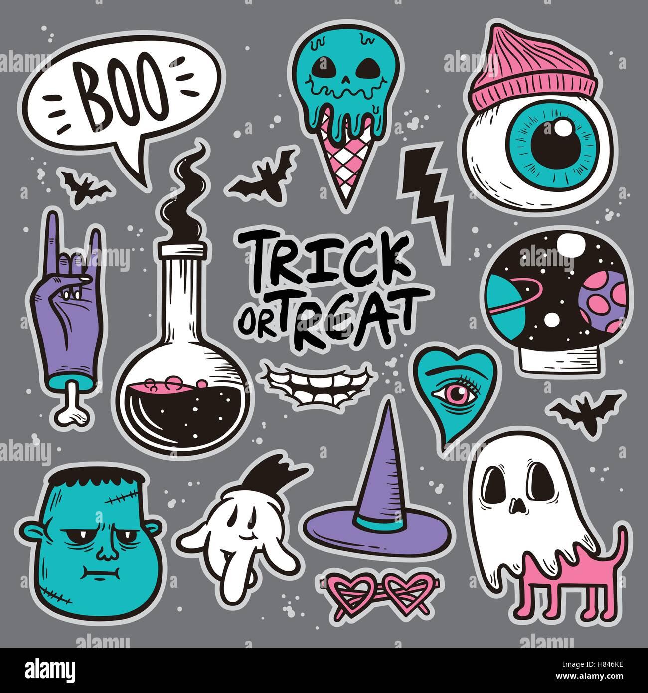 Patch Halloween Set de badges, bizarre collection d'éléments de décoration. Broderie ou d'autocollants dans un style Illustration de Vecteur