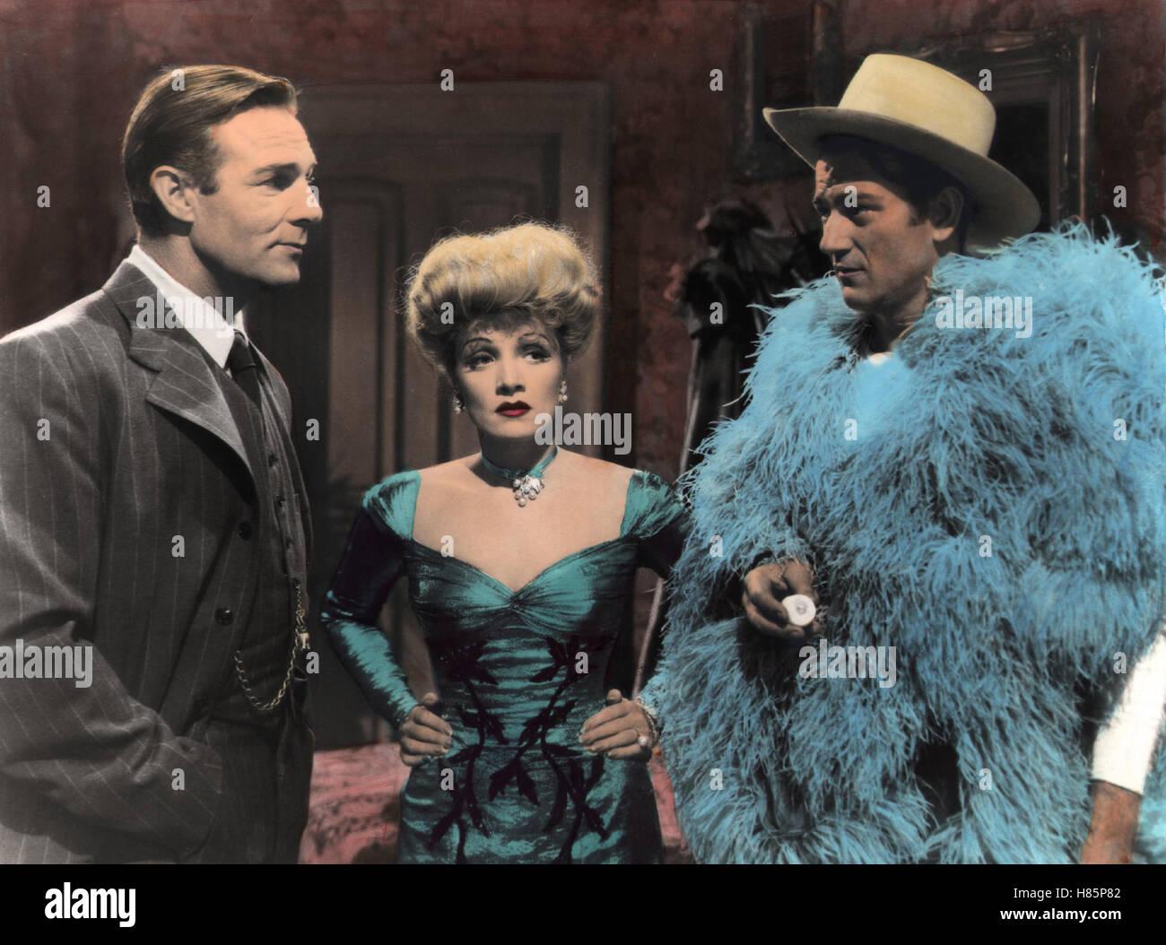 Mourir, Freibeuterin (LES SPOILERS) USA 1942, Regie: Ray Enright, RANDOLPH SCOTT, Marlene Dietrich, JOHN WAYNE, Ausdruck: Federboa Cowboyhut, Banque D'Images