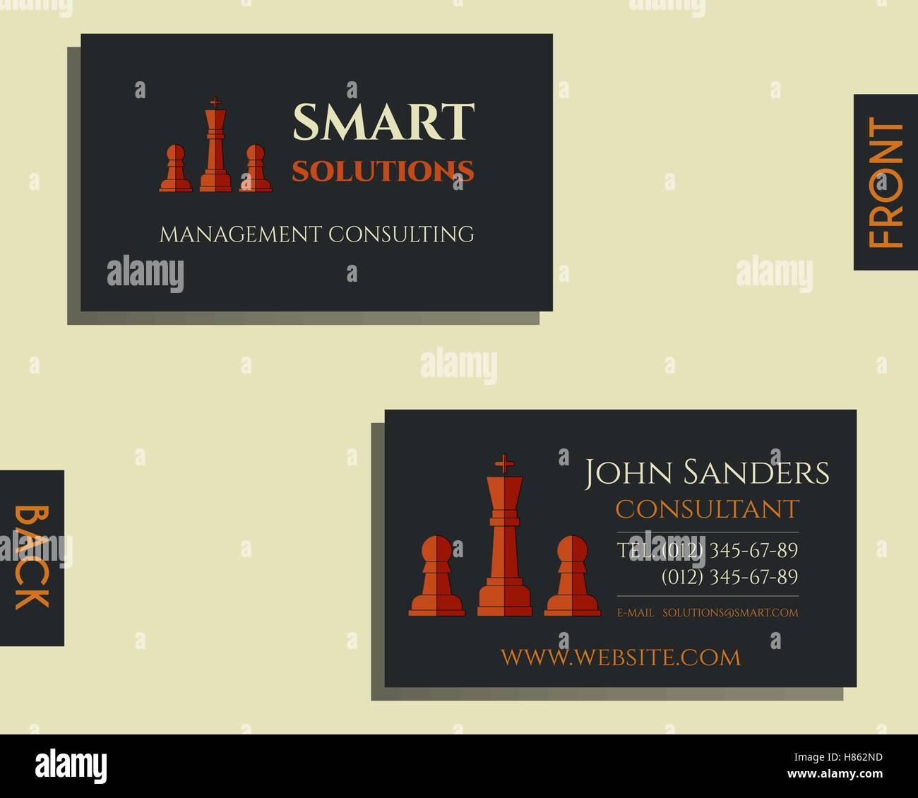 Business Et Des Conseils De Gestion Modele Carte Visite Smart Design Solutions Dechecs Avec Le Logo Lentreprise