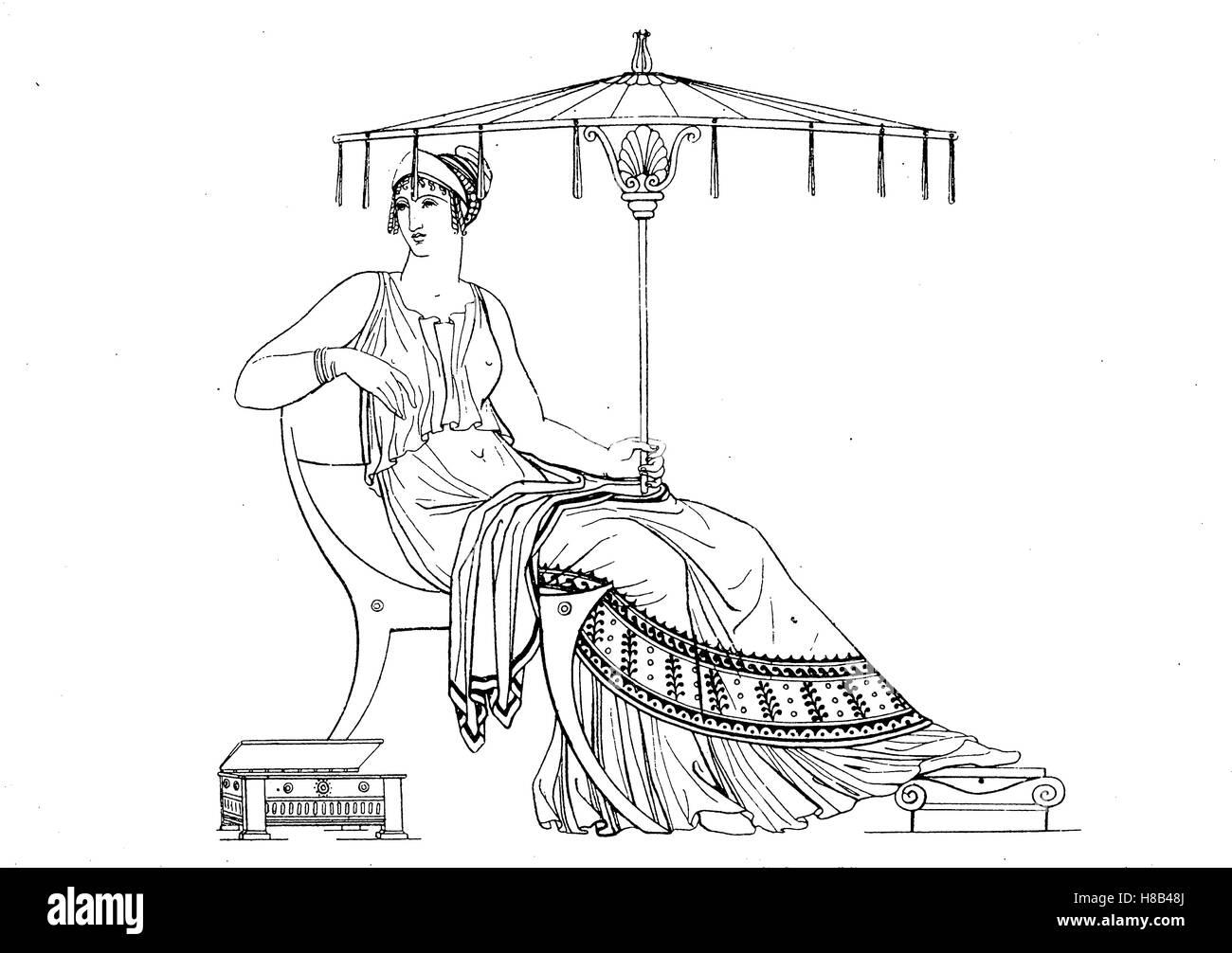 Dame grecque avec parapluie, l'antiquité grecque, après un vase peinture, histoire de la mode, des Photo Stock