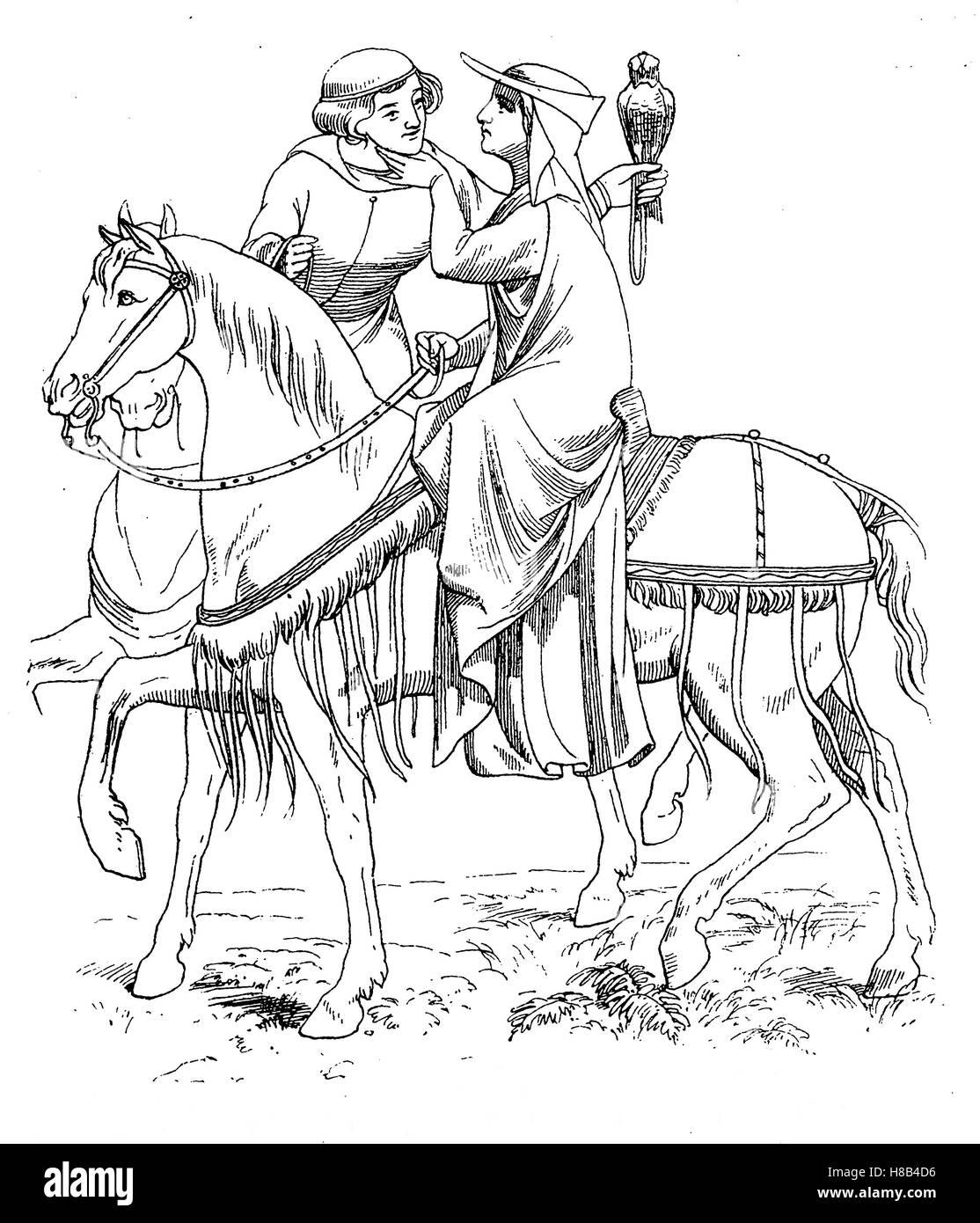 Huntsman et maîtresse, début 14. siècle, Histoire de la mode, des costumes story Photo Stock