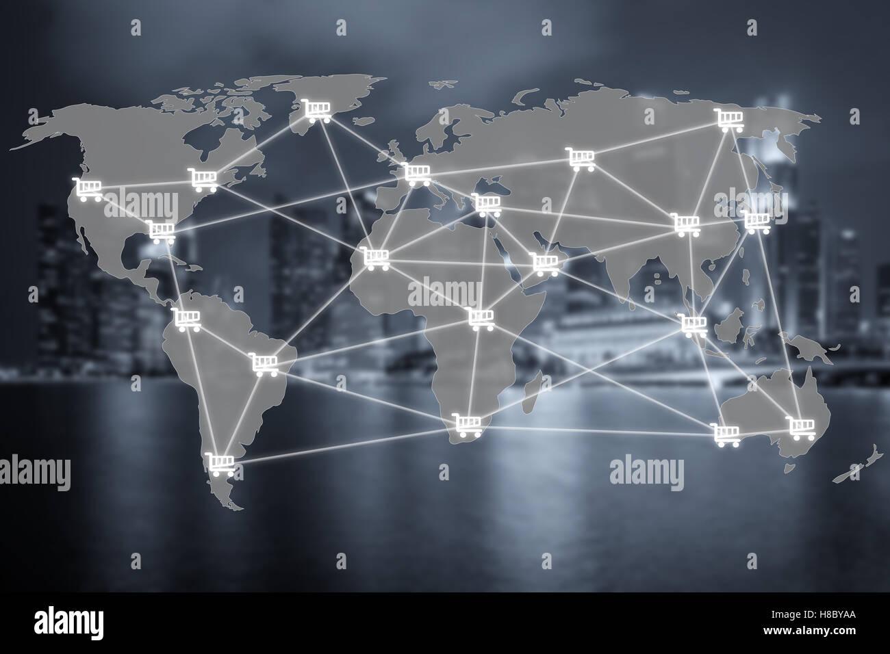 E-commerce mondial et d'une connexion réseau et panier se connecter avec centre commercial en arrière Photo Stock