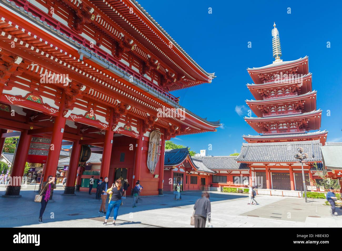 Asakusa, Tokyo at Sensoji Temple Hozomon du Gate. Photo Stock