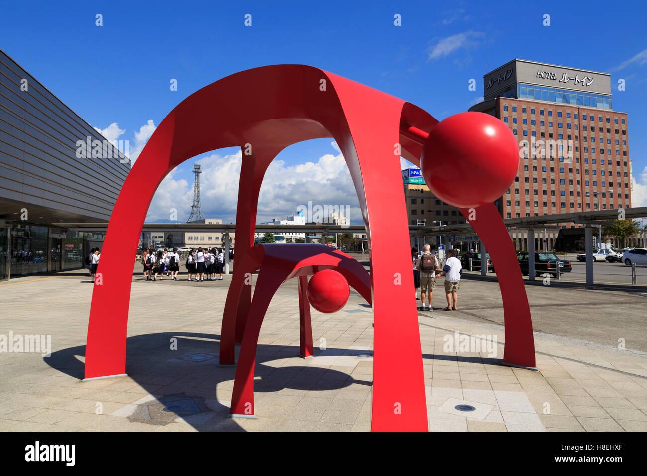 La gare JR, ville Hakodate, Hokkaido Prefecture, Japan, Asia Banque D'Images