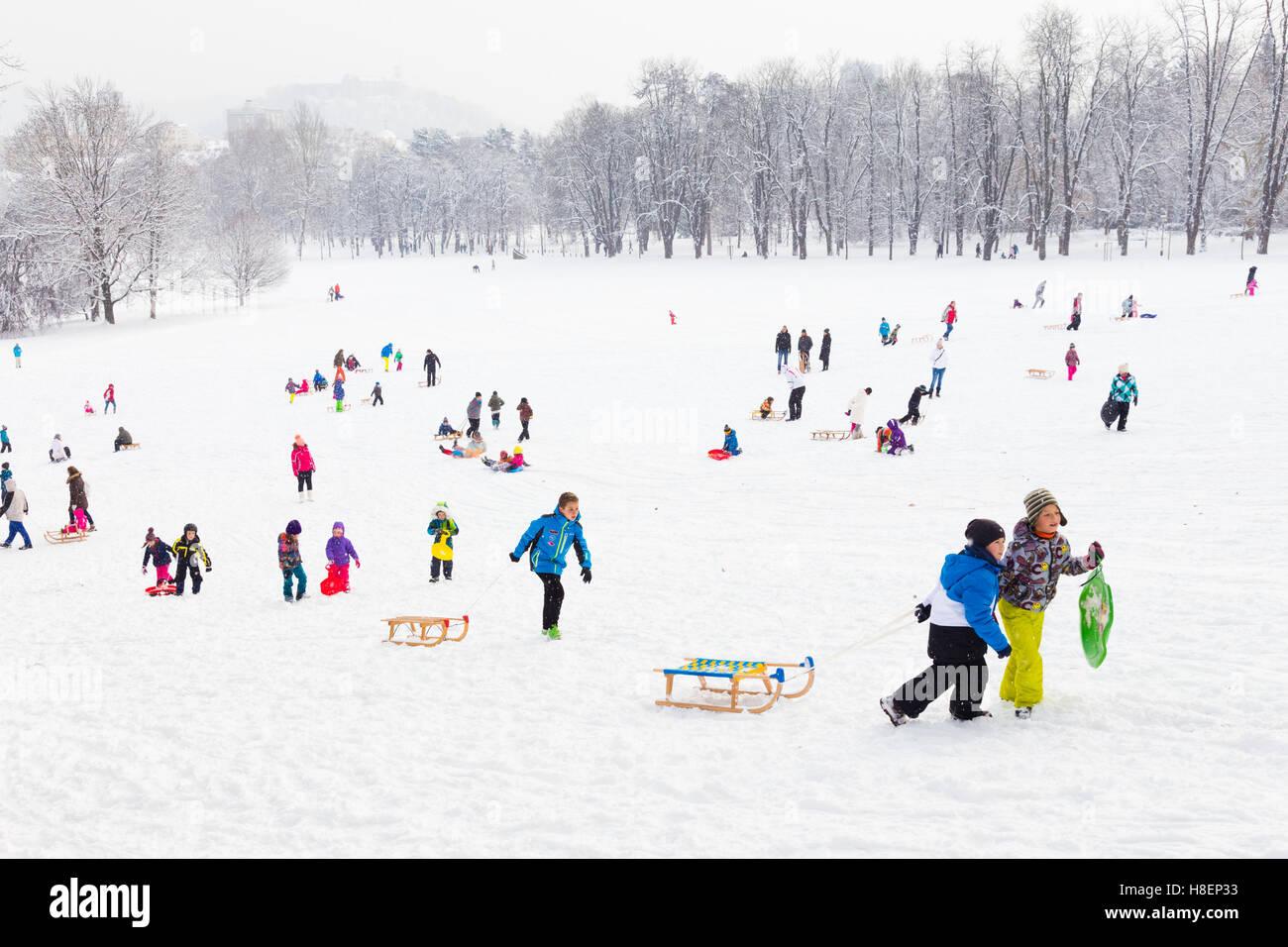 Plaisir d'hiver, neige, traîneau à chiens à l'heure d'hiver. Photo Stock