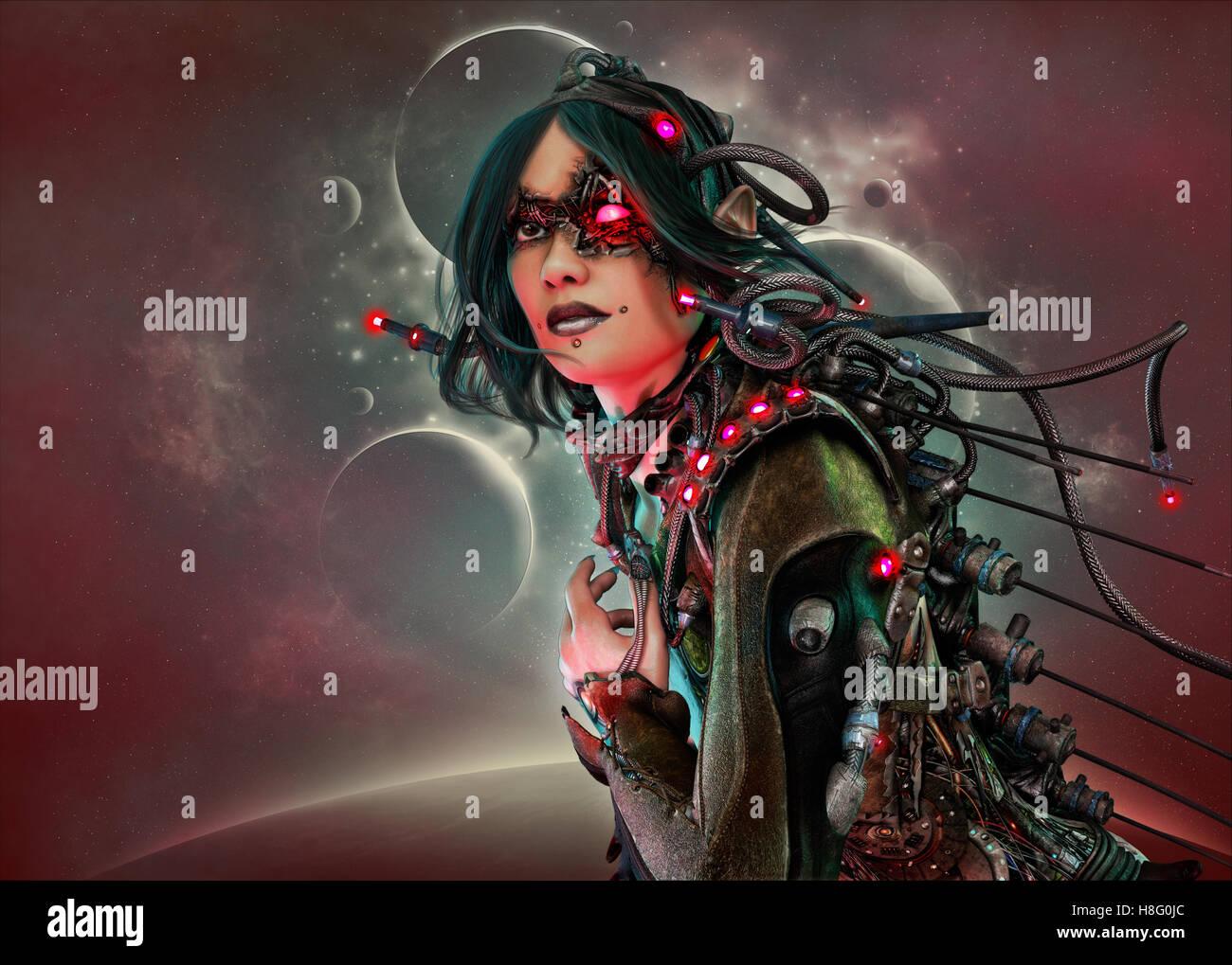 L Infographie 3d D Une Femme Cyborg Avec Des Vetements Et De La