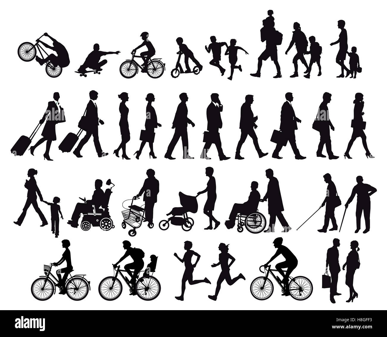 Les populations en mouvement et d'activités Photo Stock