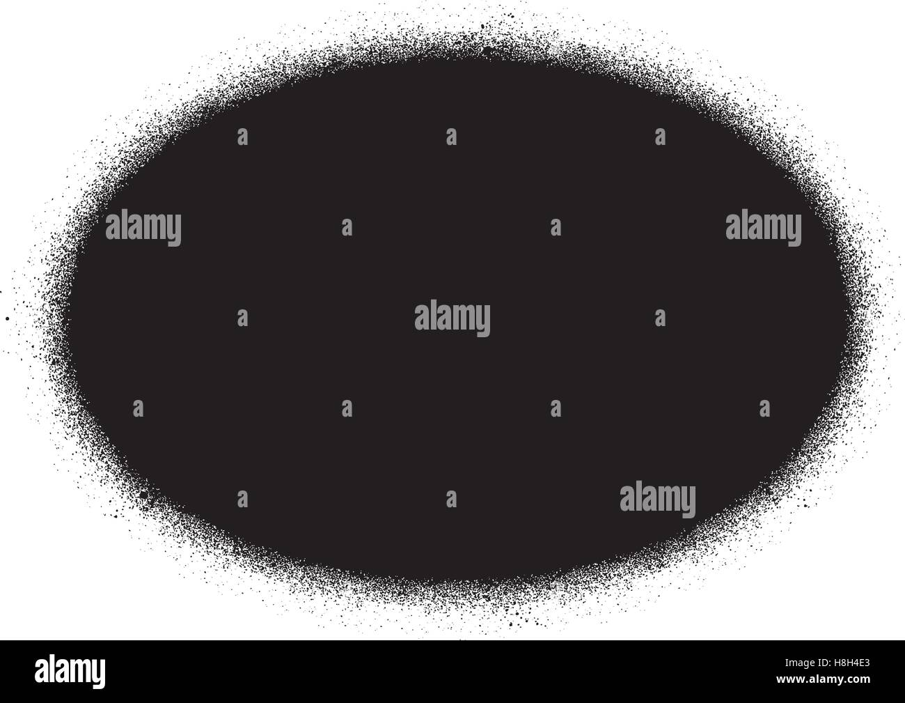 Signe graffiti pulvérisé ellipse en noir sur fond blanc Photo Stock