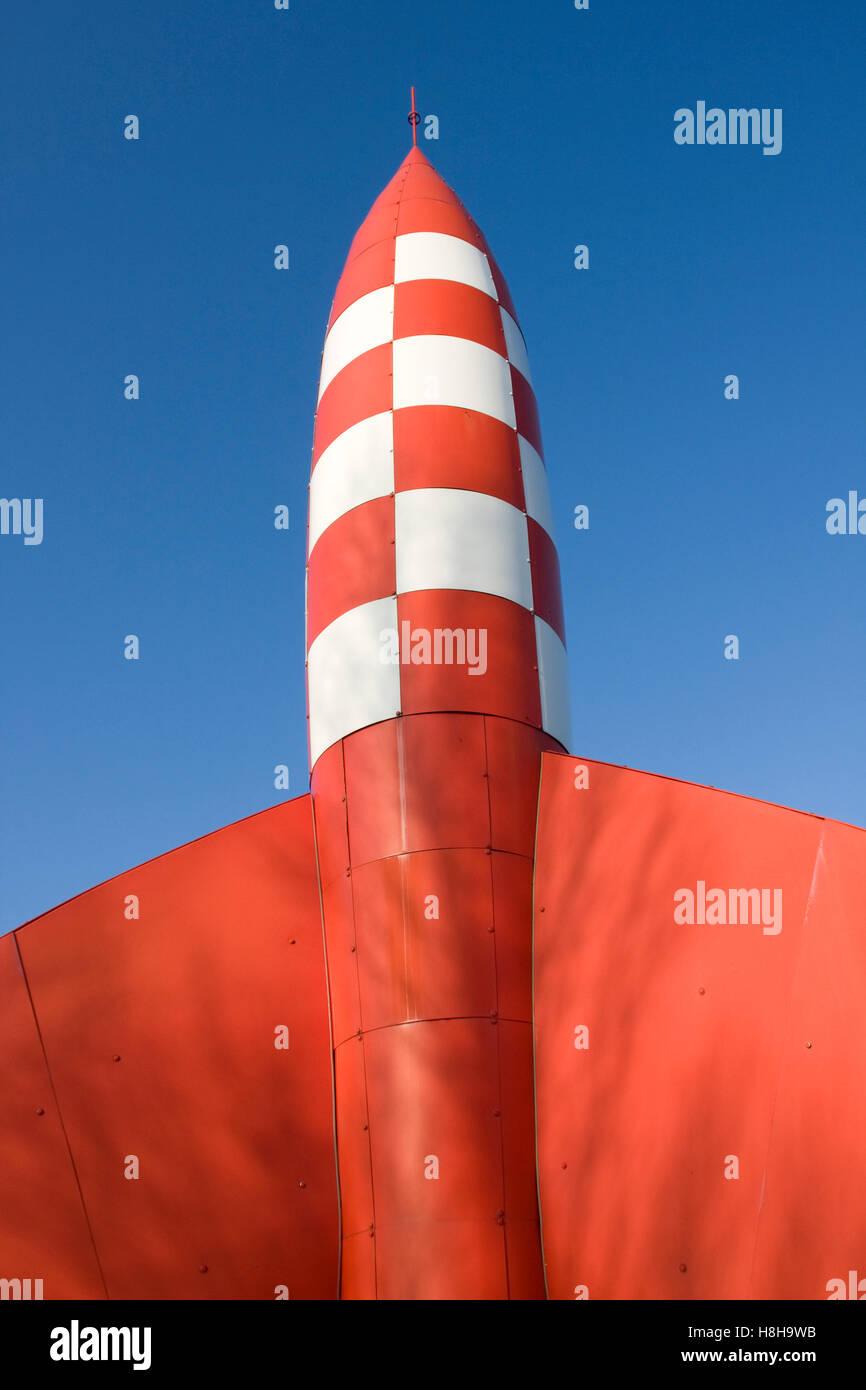 Fusée Tintin Rouge Vérifié De Cartoon Banque D Images Photo