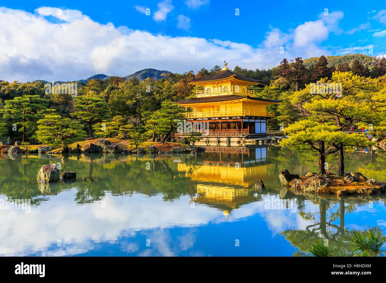 Kyoto, Japon. Le pavillon d'or au Temple Kinkakuji. Photo Stock