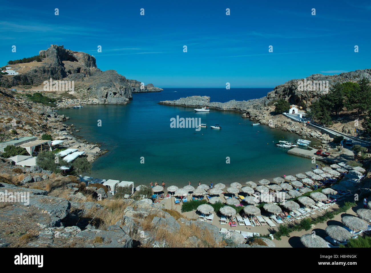 Plage de St Paul, Lindos, Rhodes, Grèce Photo Stock