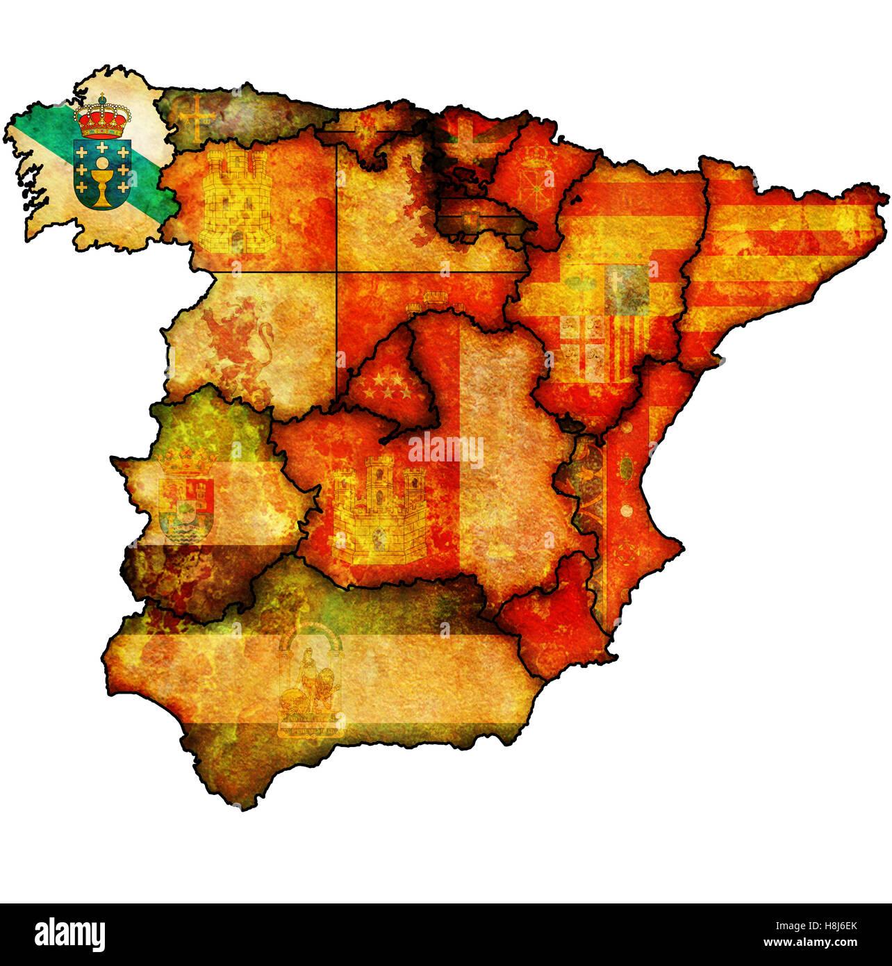 La Region Galice Sur L Administration Carte Des Regions De L Espagne Avec Les Drapeaux Et Emblemes Photo Stock Alamy