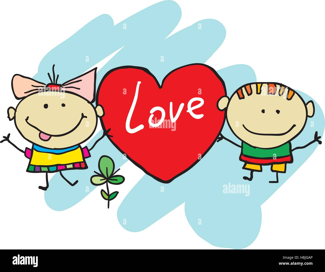 Cute cartoon kids. Hand drawn cartoon enfants Photo Stock