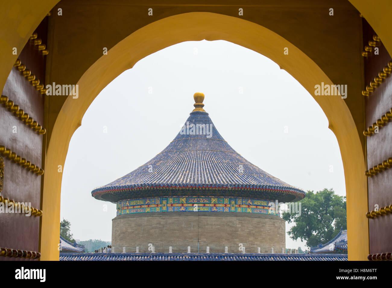 Beijing, Chine - à l'extérieur des portes du Temple du Ciel, autel sacrificiel impérial situé dans le centre de Pékin. Banque D'Images