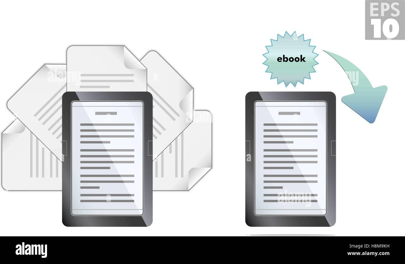 Ebook Reader avec pages et télécharger des icônes Illustration de Vecteur