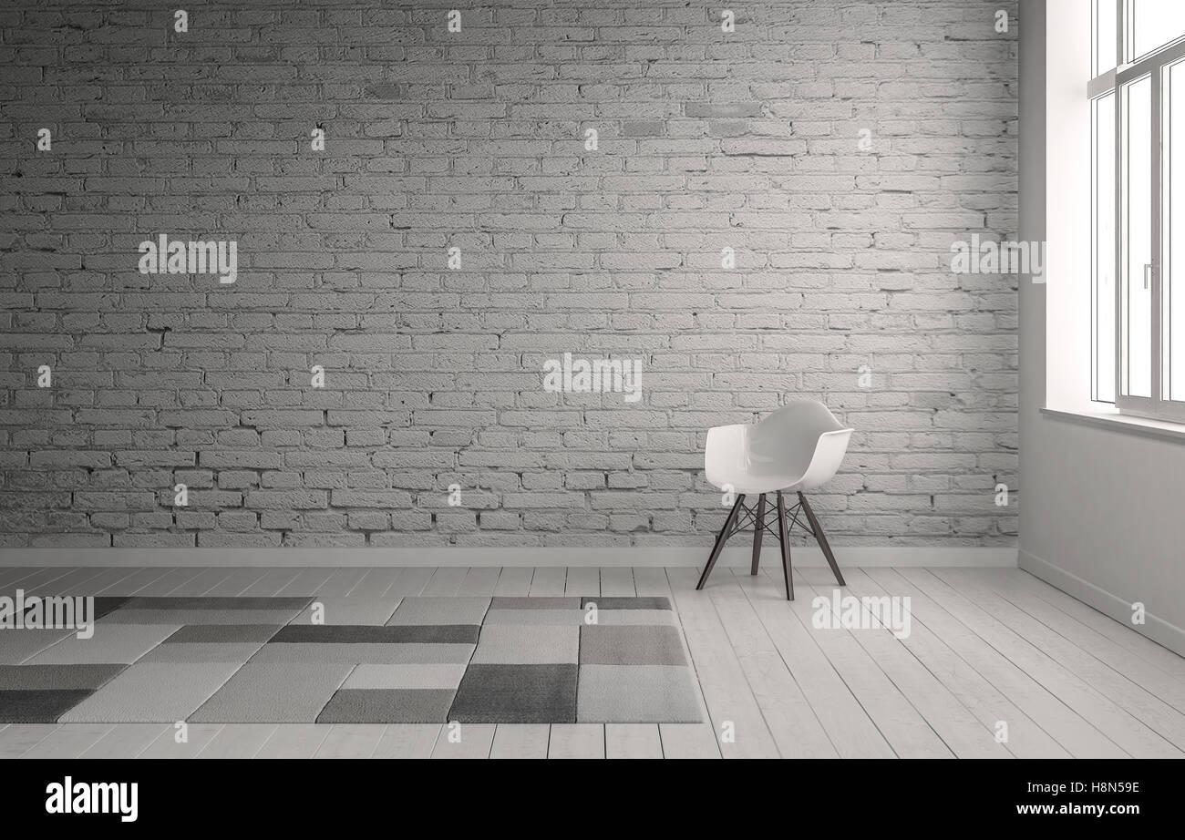 Scène de chaise face à un mur de briques peint en gris neutre avec ...