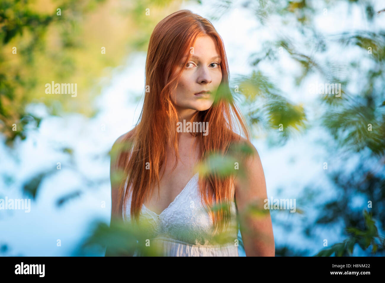 Portrait of young woman in forest Photo Stock