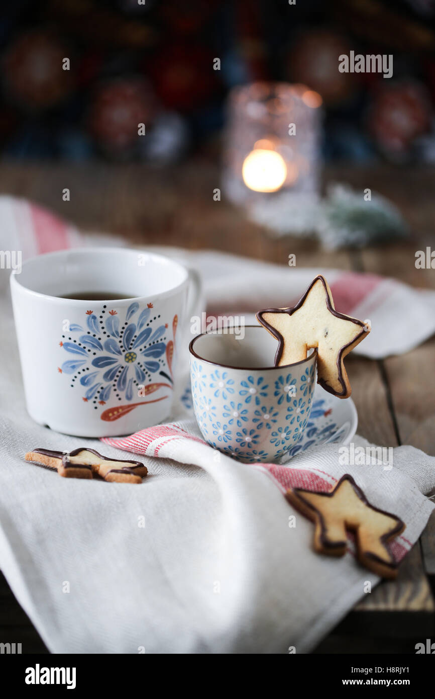 Tasse à thé et biscuits Photo Stock