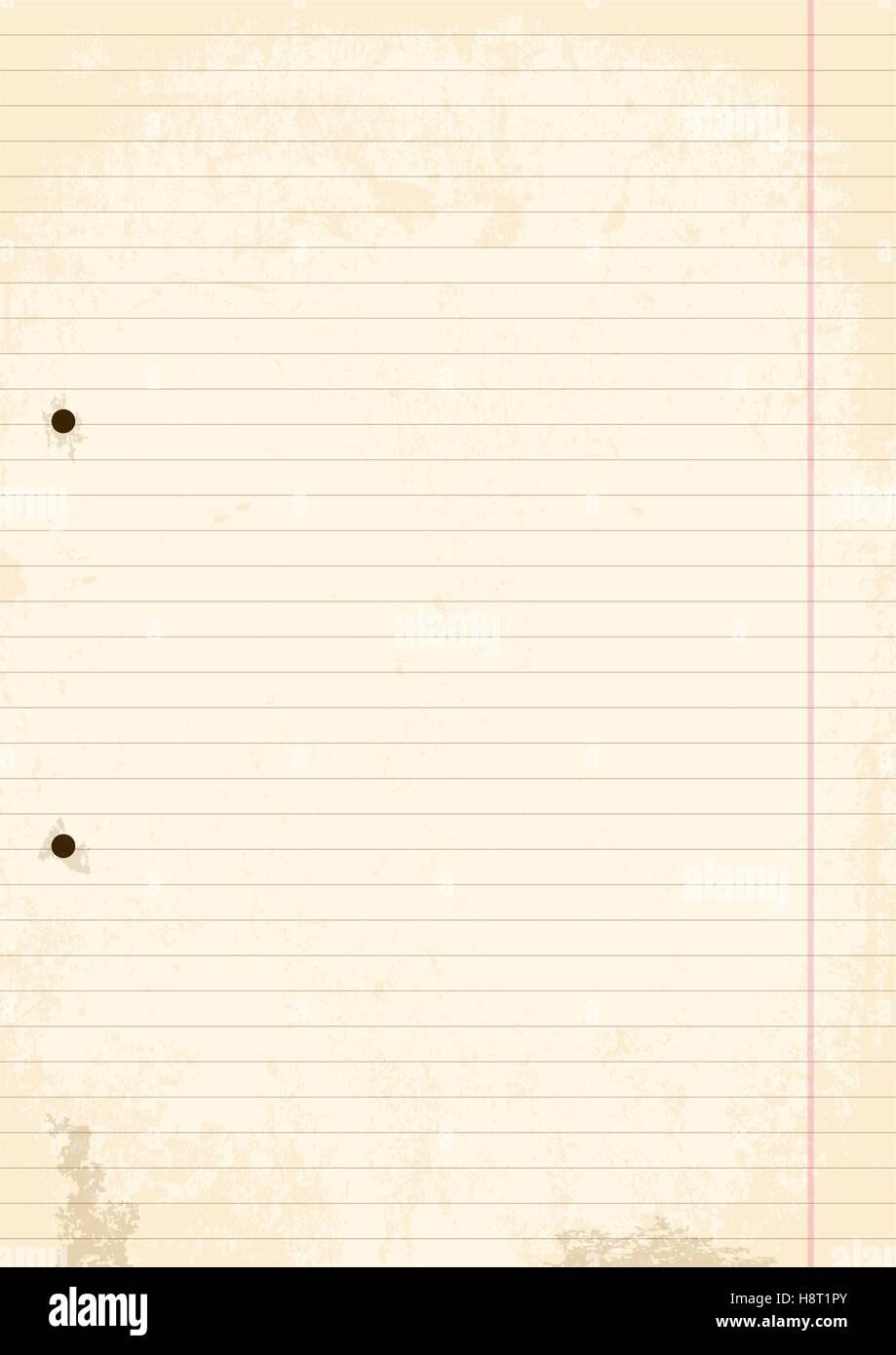 Vecteur, Illustration d'une feuille de papier en ligne4 avec des trous. Style Grunge et usé. Photo Stock