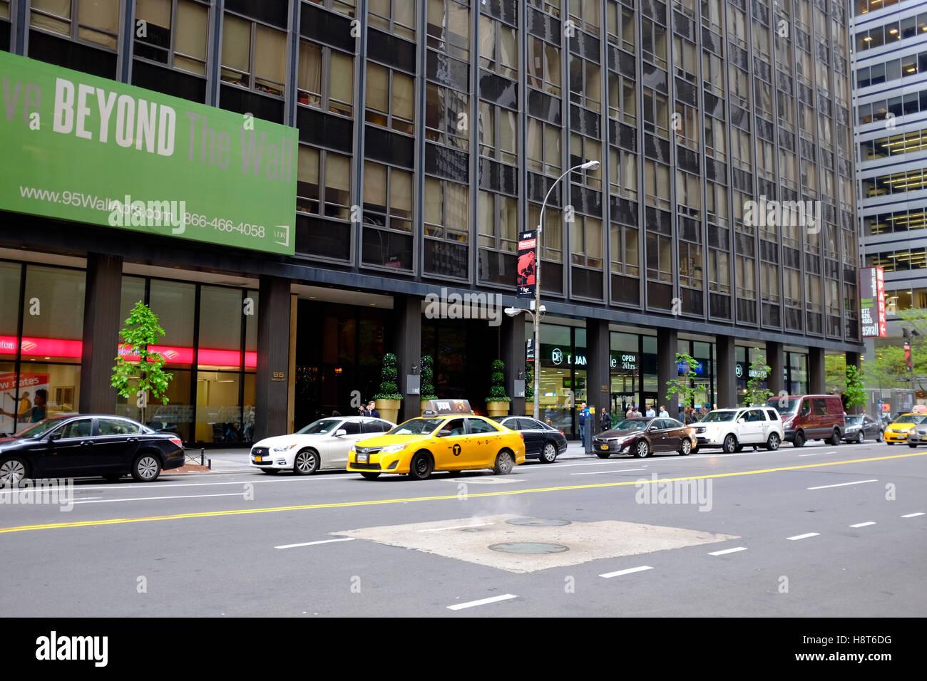New York, taxi jaune, scène de rue. Photo Stock