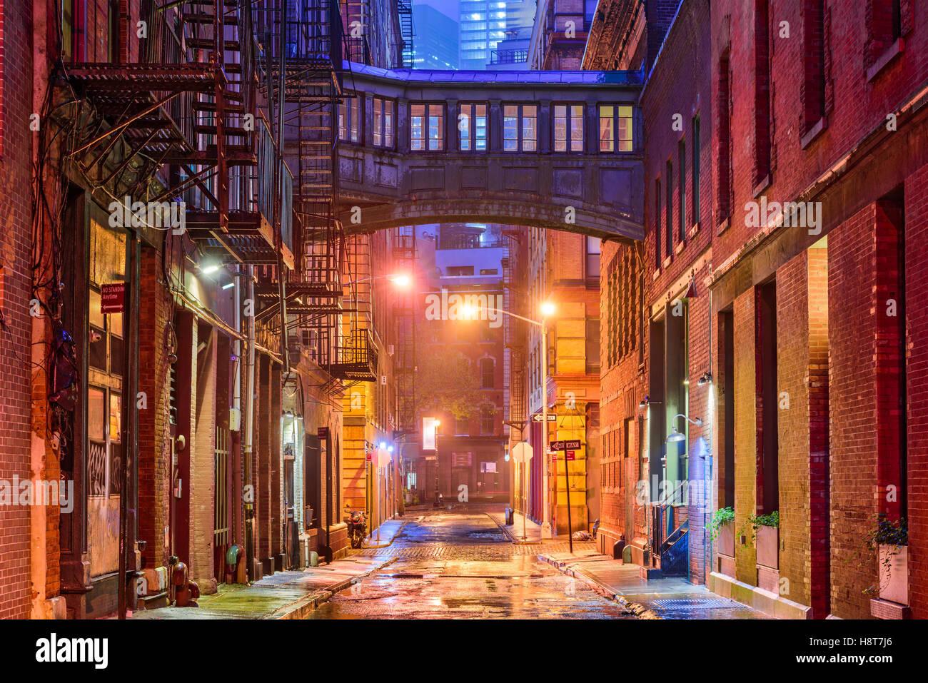 Alley dans le quartier de Tribeca à New York. Photo Stock