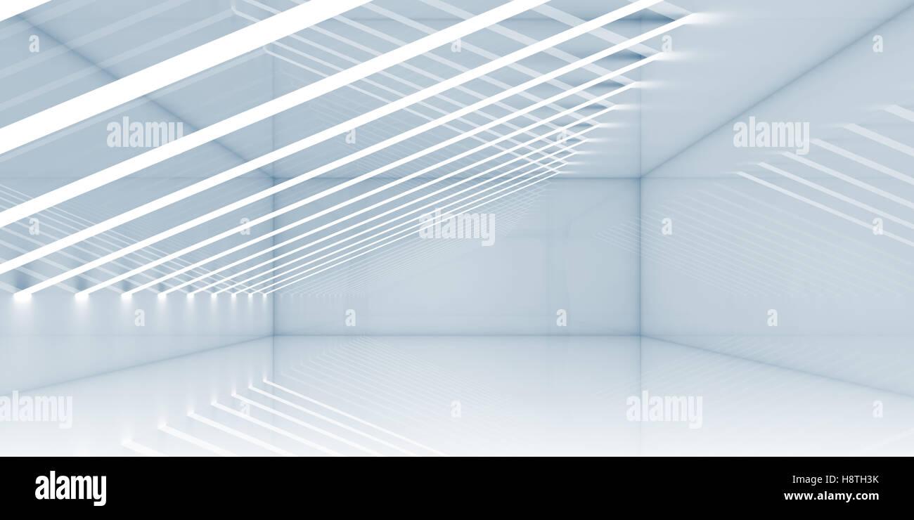 Salle Vide Intérieur Avec Les Fines Rayures De Lumières. Architecture  Contemporaine De Lu0027arrière Plan. Illustration 3D Render