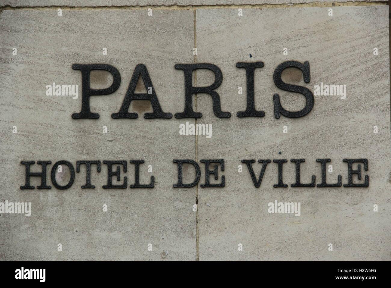 Paris, l'Hôtel de ville. Banque D'Images