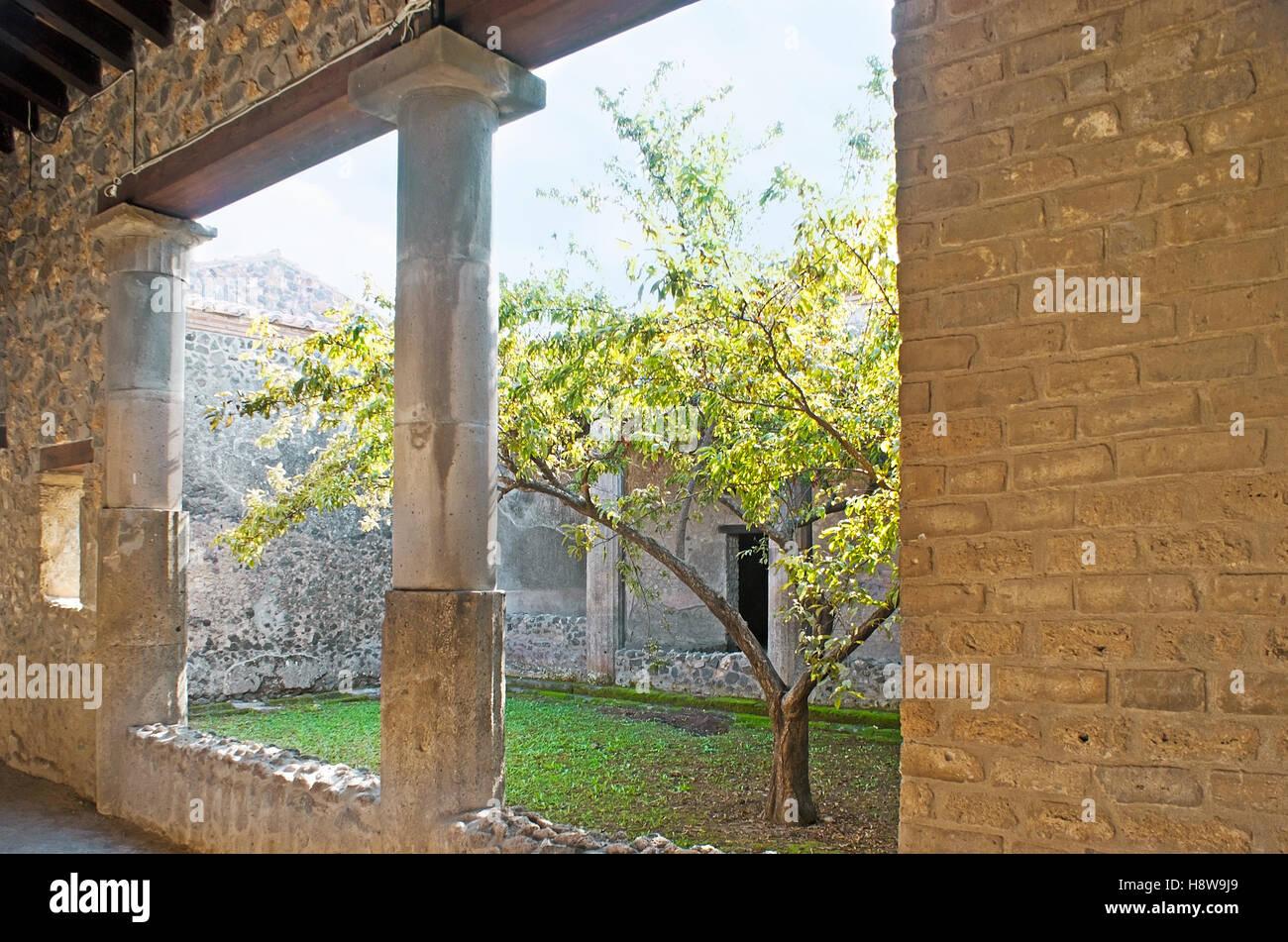 Le petit jardin intérieur dans la cour de l\'ancienne villa Banque D ...
