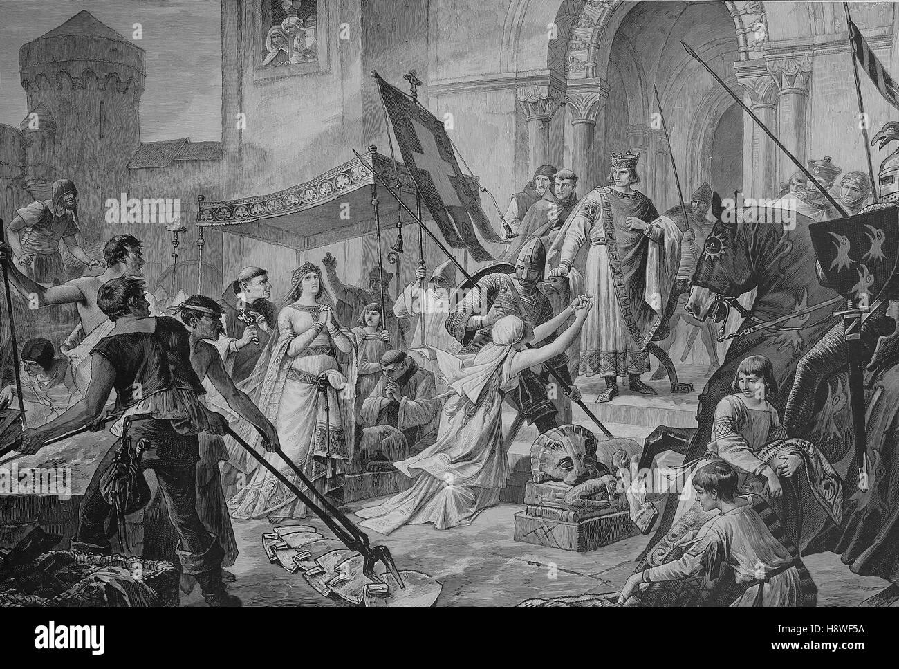 L'épreuve, épreuve de feu, de Saint Cunigunde de Luxembourg, appelé aussi Cunegundes Cunegunda Photo Stock