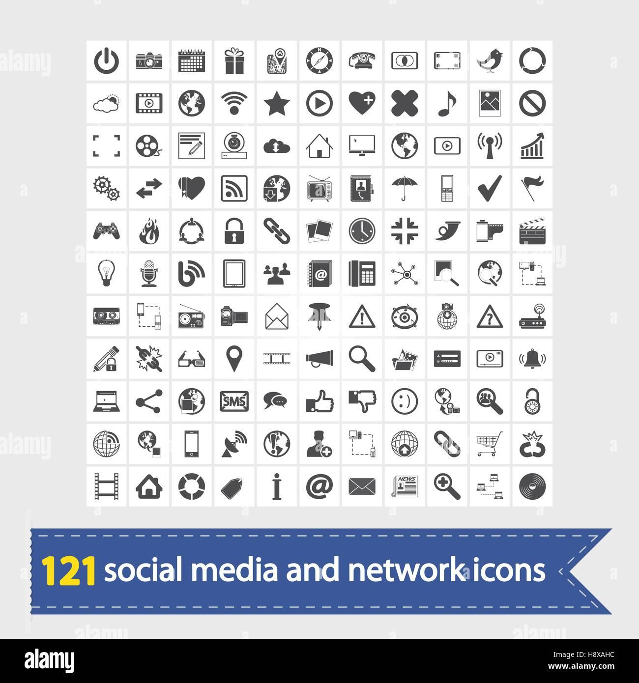 121 icônes de médias sociaux et de réseau. Vector illustration. Photo Stock