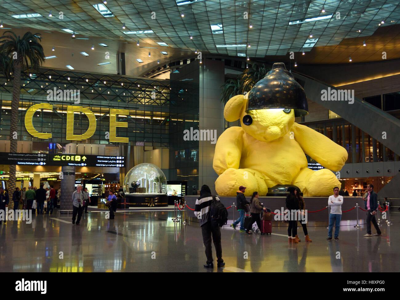 Intérieur de l'Aéroport International Hamad. Doha, Qatar Banque D'Images