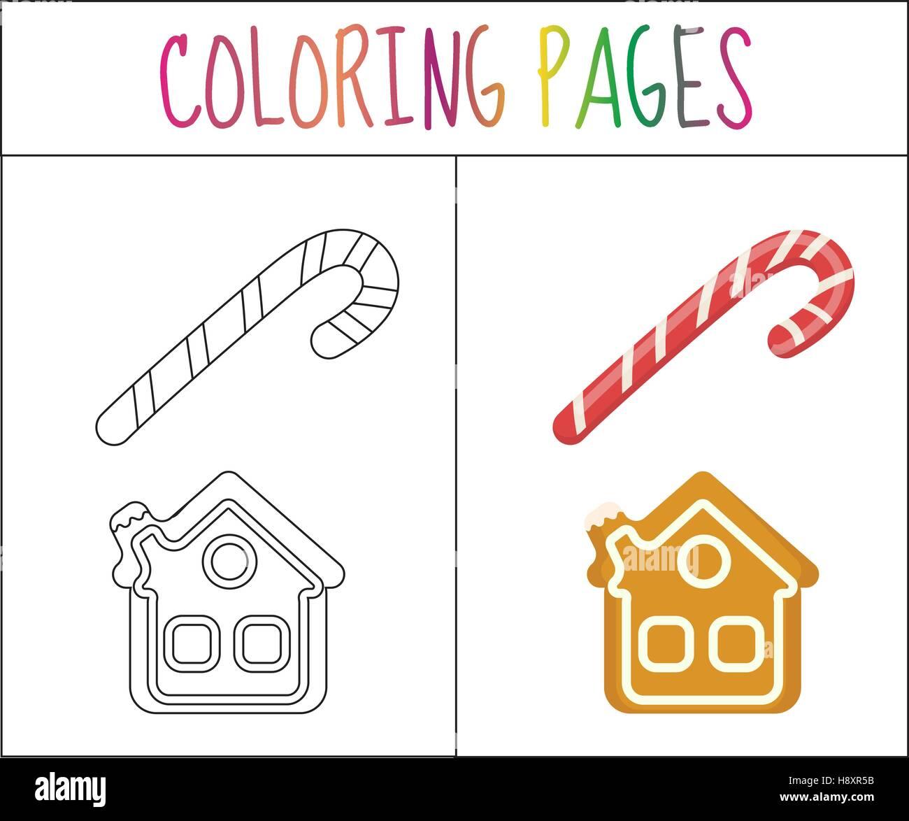 Page de livre de coloriage. Canne de Noël et d'épices maison. Sketch version couleur. pour les enfants. Photo Stock