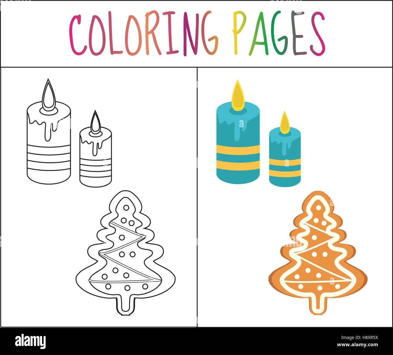 Page de livre de coloriage. D'épice et des bougies de Noël. Sketch version couleur. pour les enfants. Photo Stock