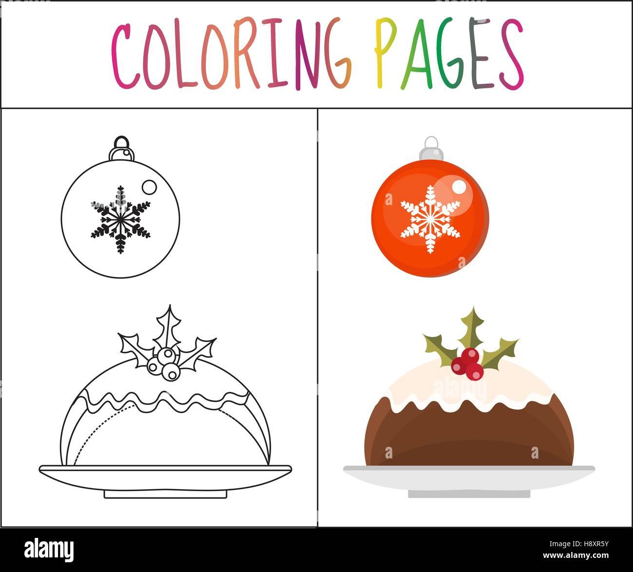 Page de livre de coloriage. Le pudding de Noël et d'une balle. Sketch version couleur. pour les enfants. Photo Stock