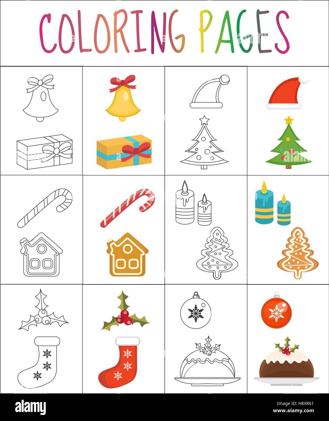 Page de livre de coloriage. Jeu de Noël. Sketch et version couleur. pour les enfants. Vector illustration Photo Stock