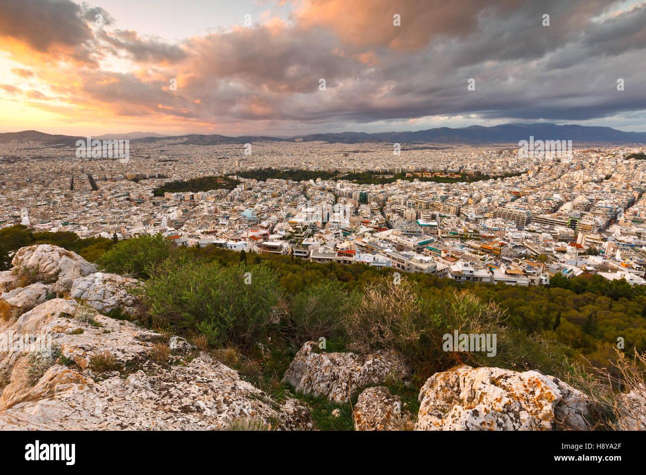 Vue d'Athènes depuis la colline du Lycabette, Grèce. Photo Stock