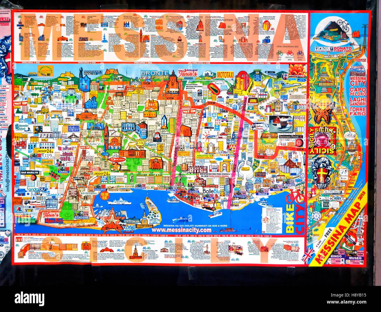Sicile Messine colorés carte des rues touristiques Photo ...