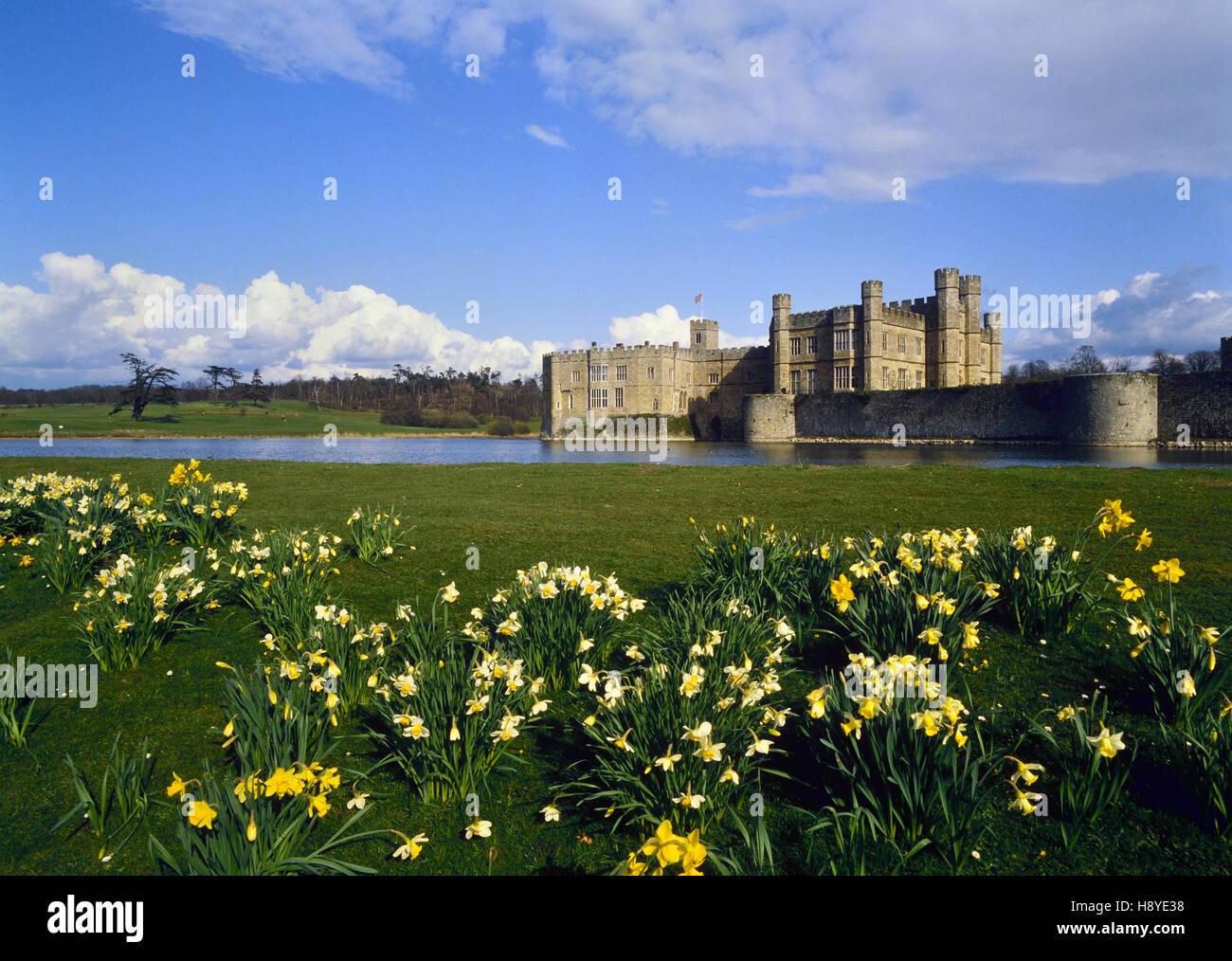 Le Château de Leeds au printemps. Kent. L'Angleterre. UK Photo Stock