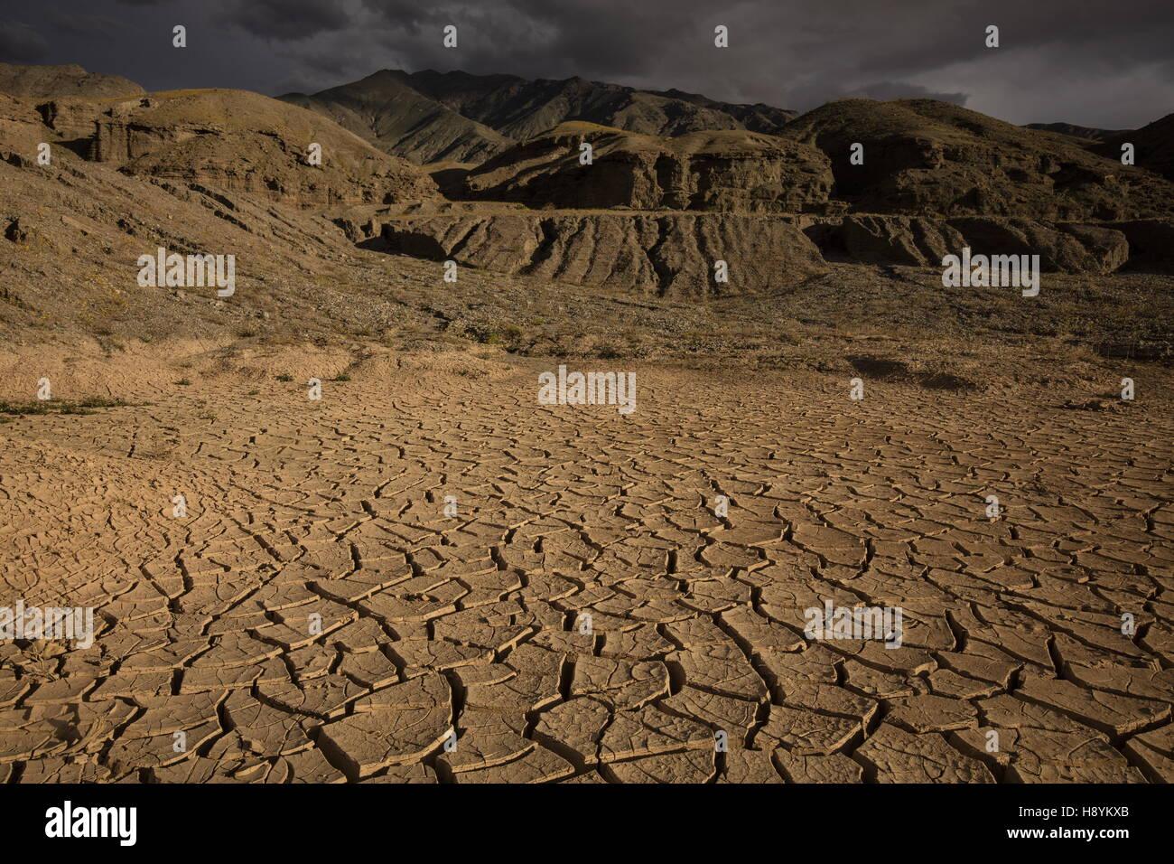 Fissures dans la boue du lac de séchage après de fortes pluies dans la région de Death Valley, Californie. Photo Stock