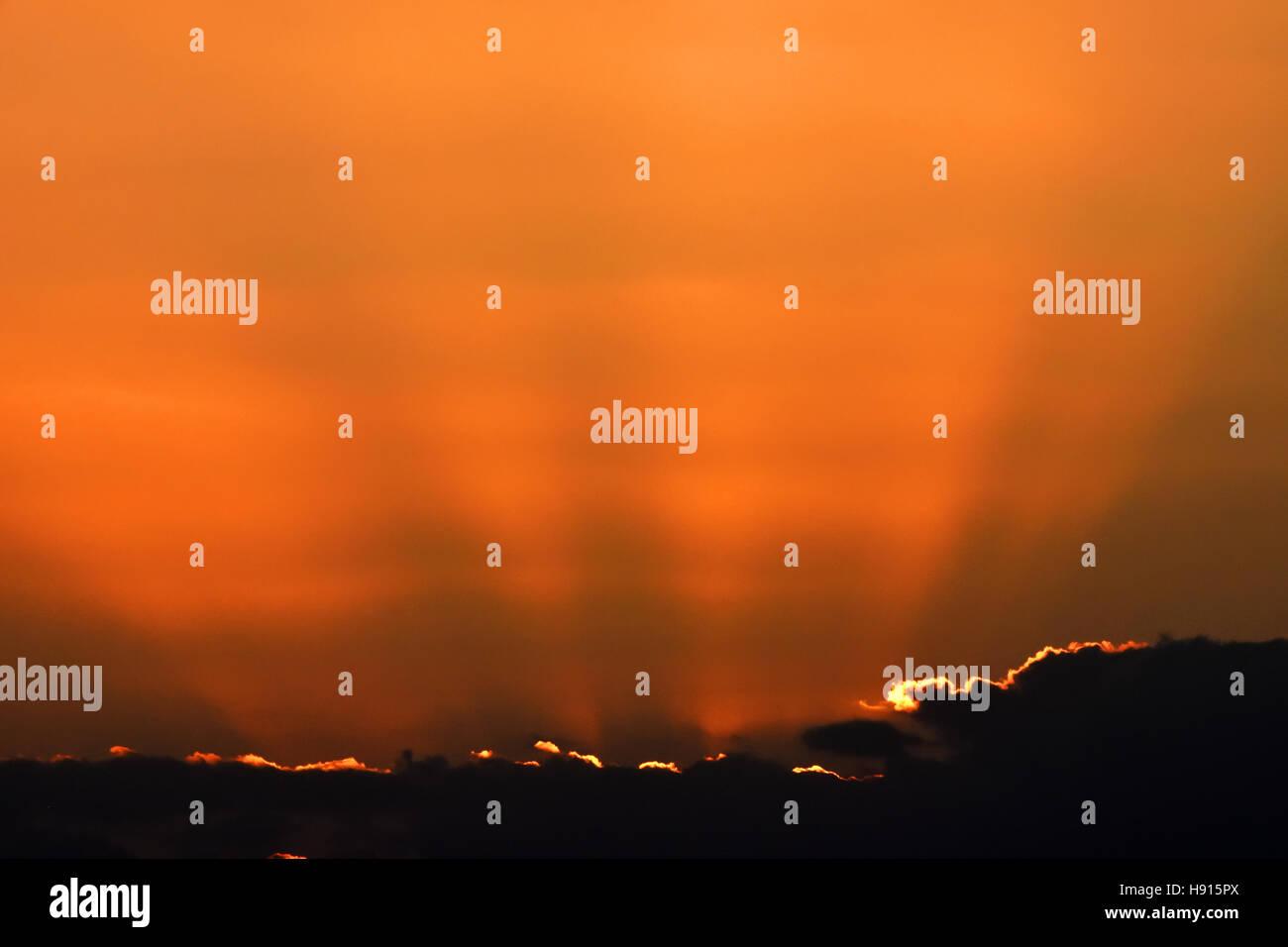 Rayons soleil dans le coucher du soleil Photo Stock