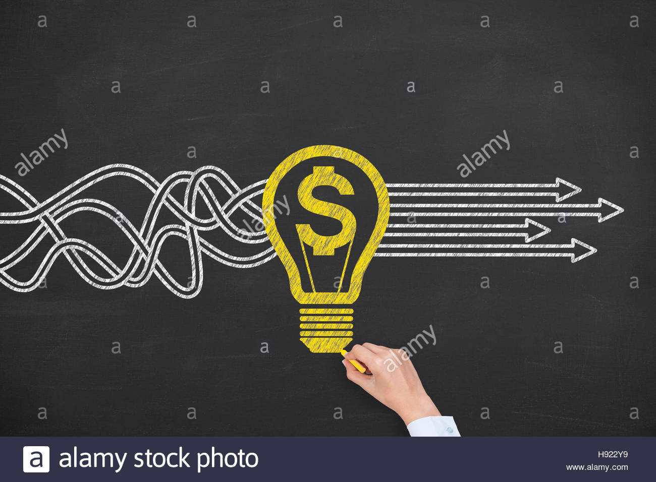 Finance Concepts Solution on Chalkboard Photo Stock