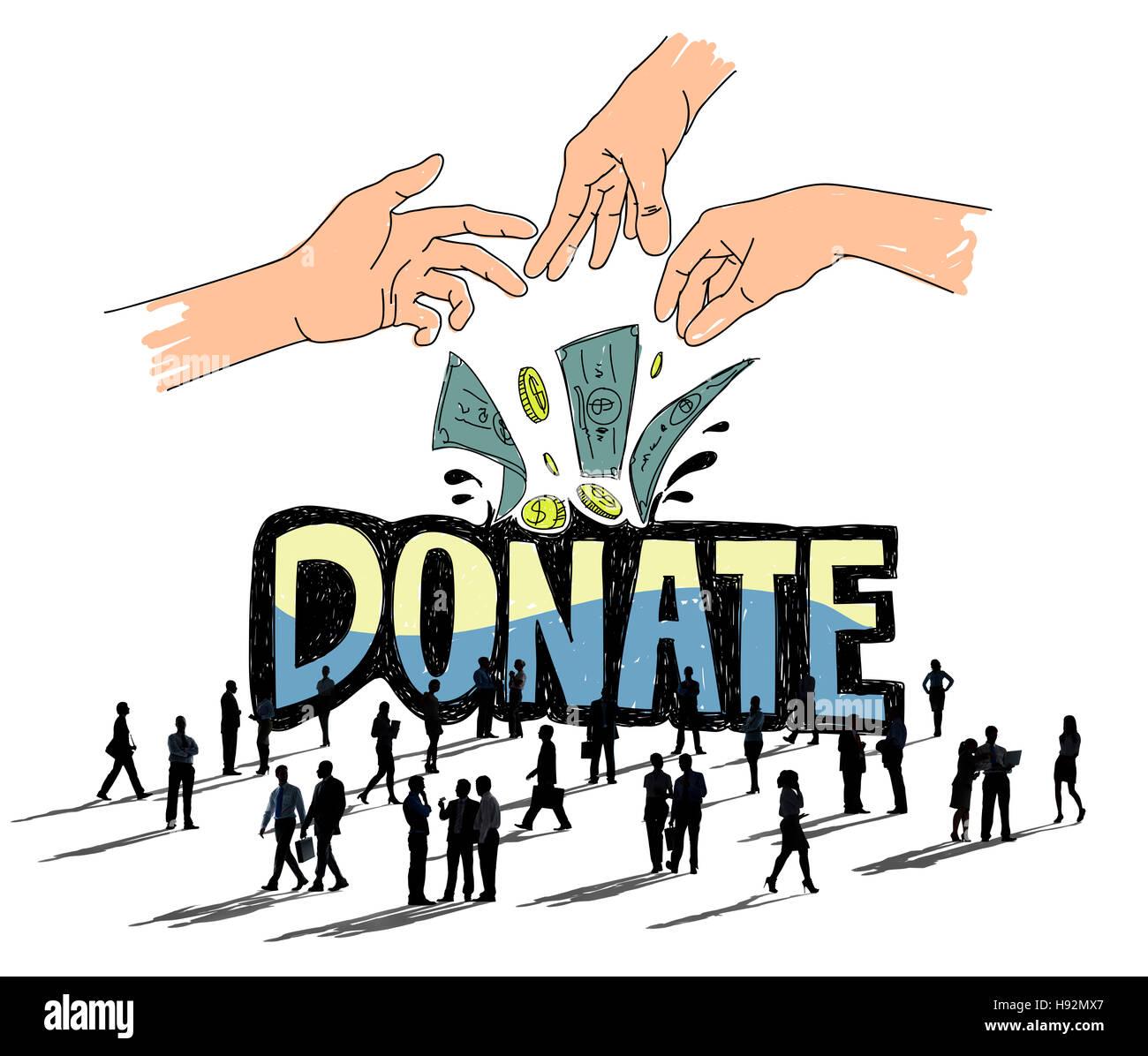 Faire un don de bienfaisance d'argent mains généreux Concept Photo Stock