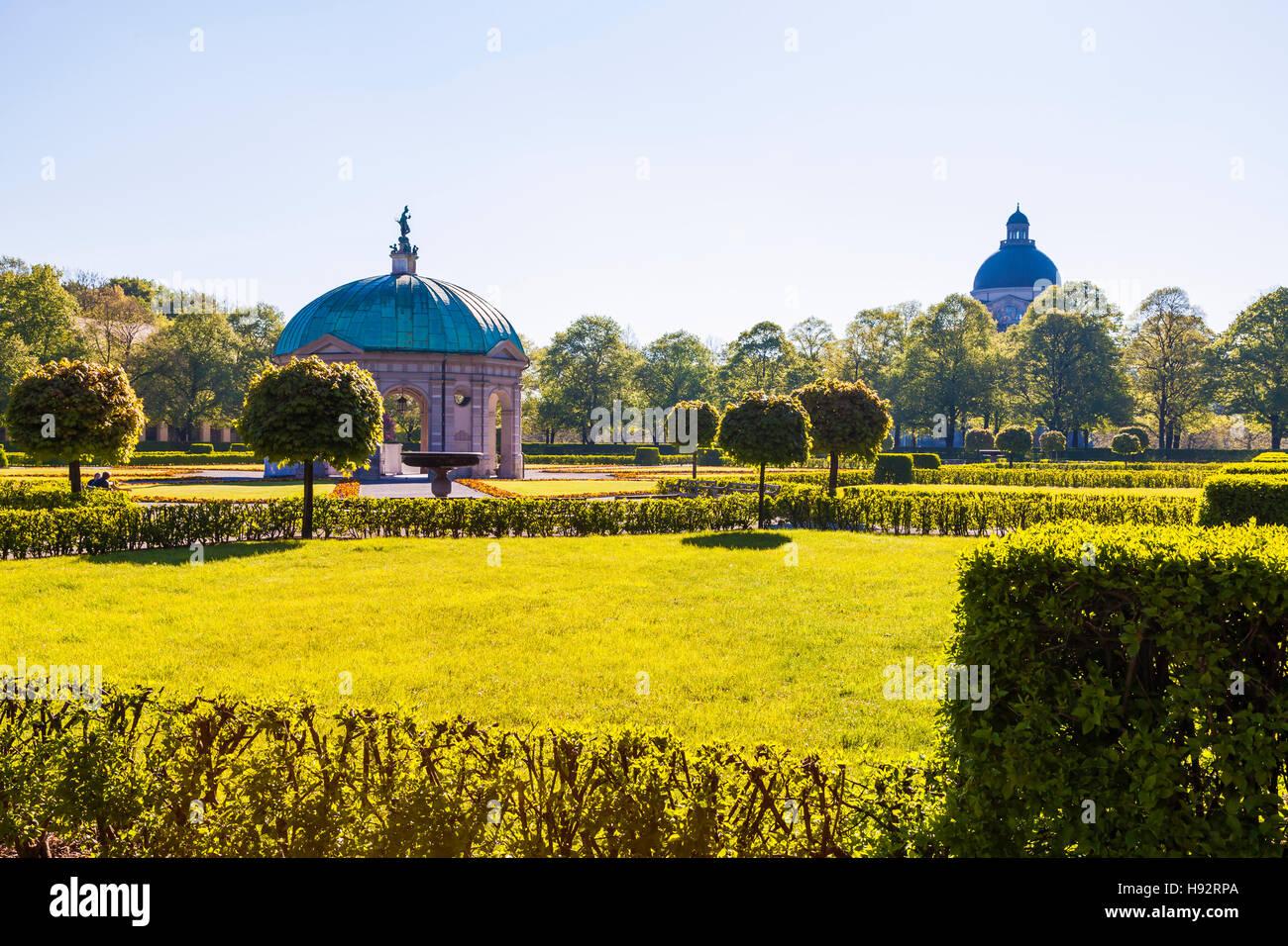 Jardin de style Renaissance, pavillon, HOFGARTEN, Park, Munich, Bavière, Allemagne Photo Stock
