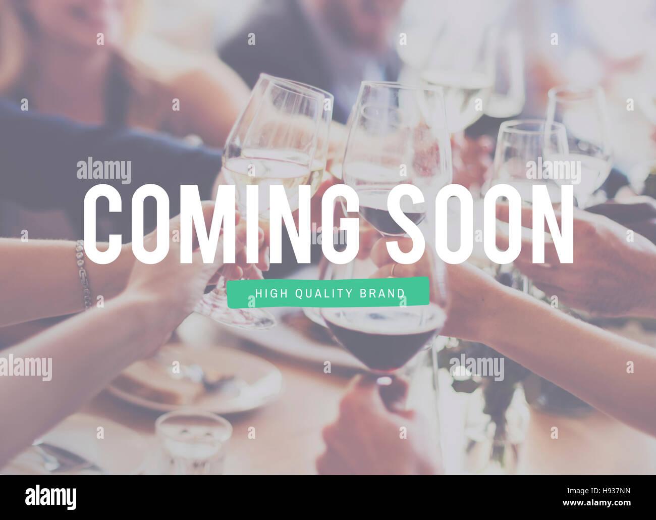 Bientôt l'absence d'attente Publicité Concept commercial Photo Stock