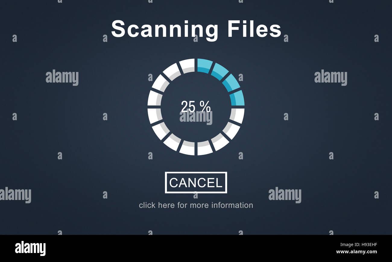 La recherche de l'analyse des fichiers Antivirus Traitement Concept Banque D'Images